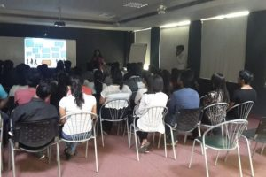 "Debeshi Chakraborty conducted seminar on the topic ""Dezine Careers""."