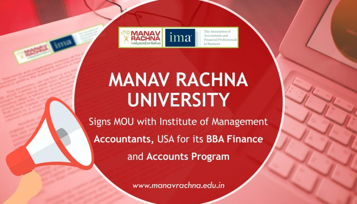 MOU signed by Institute of Management Accountants, USA with Manav Rachna University for BBA Finance and Accounts program