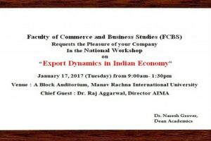 National Workshop On Export Dynamics At MRIU