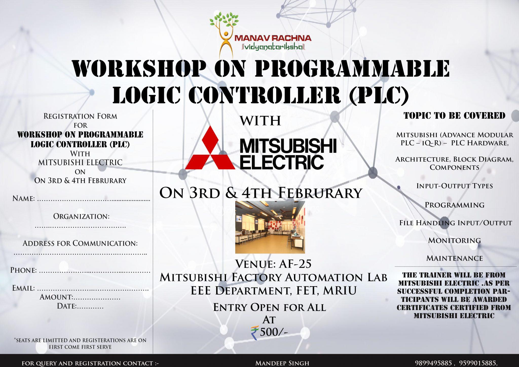 Workshop On Programmable Logic Controller Manav Rachna Vidyanatariksha Diagram Plc Click Here To View Download Registration Form