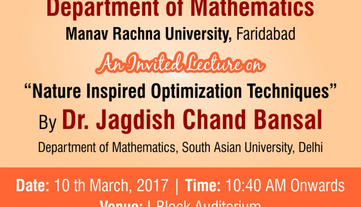 "An Invited Lecture on ""Nature Inspired Optimization Techniques"""