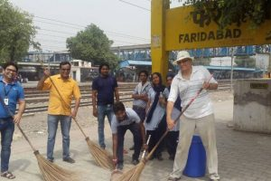 """Cleanliness Drive"" at Old Faridabad Railway Station, Faridabad, Haryana"