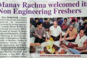 Manav Rachna welcomed its Non Engineering Freshers to an Orientation Programme