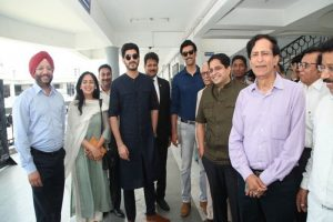 Team Raag Desh charms Students during the promotion of their film at Manav Rachna