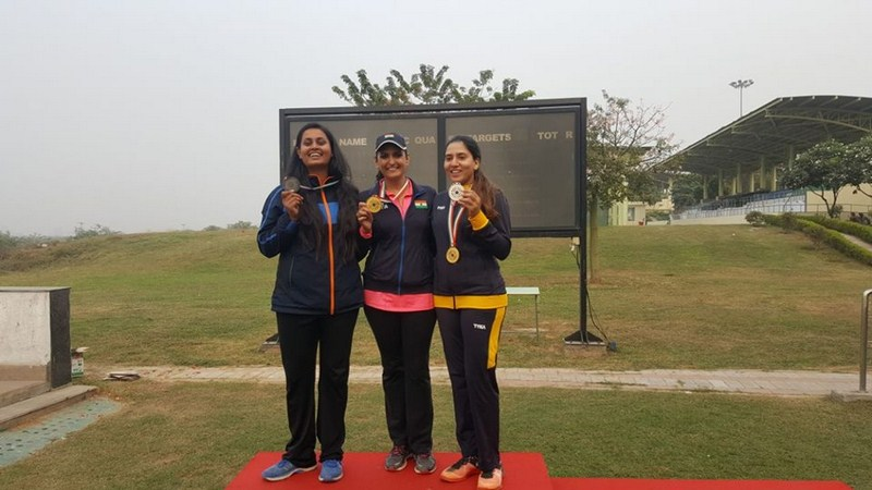 Manav Rachna's Alumni and Students take away the top three titles at the Women Trap event in the ongoing 61st National Shooting Championship