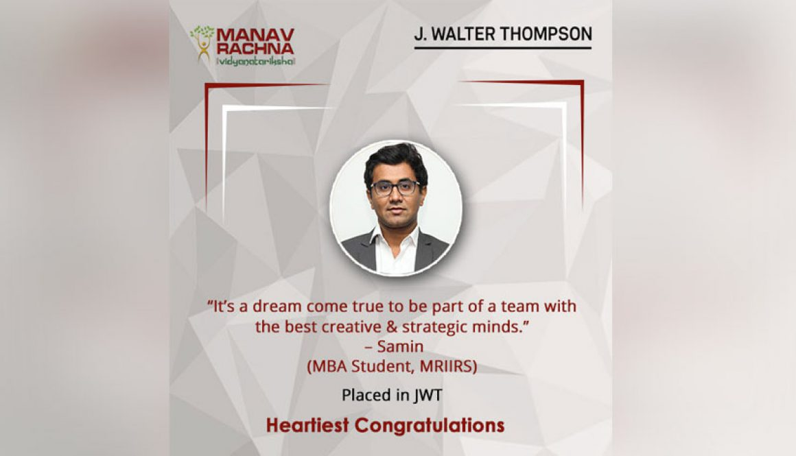 Our MBA Student Samin Chishti joins the leading Ad Agency – J Walter Thompson (JWT)