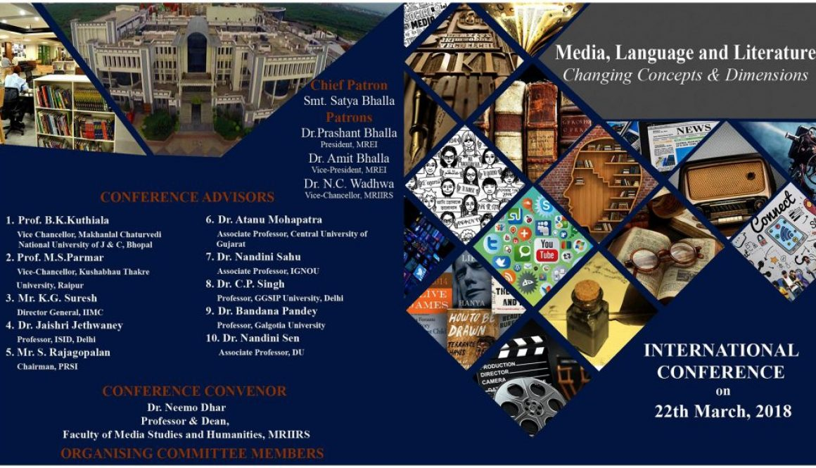 International Conference on Media, Language & Literature on 22nd March'18 by FMeH,MRIIRS
