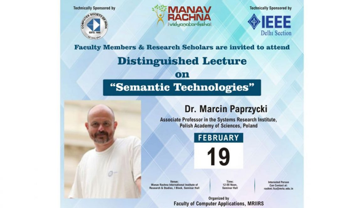 Lecture on Semantic Technology by  Dr. Marcin Paprzycki on 19th Feb'18 by FCA,MRIIRS