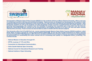Manav Rachna University incorporates SWAYAM In Its Academic Delivery