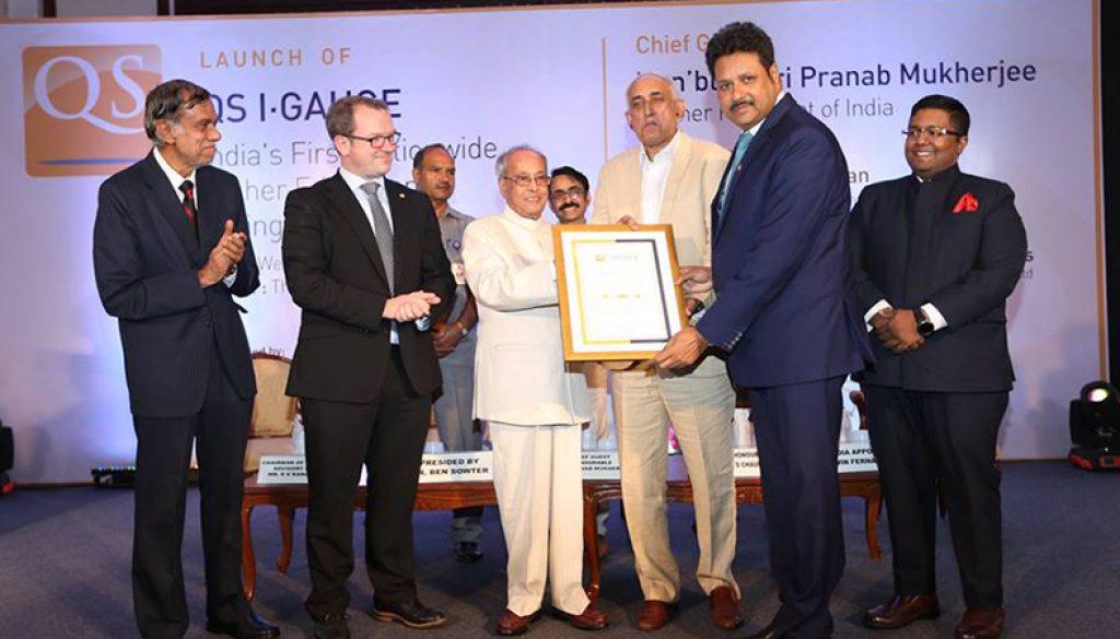 QS I GAUGE Gold Rating by Sh Pranab Mukherjee Former President of India