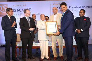 QS I-GAUGE Gold Rating' by Sh. Pranab Mukherjee, Former President of India