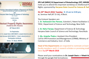 Workshop on Intellectual Property Rights Awareness on 20th March'18 by MRIIRS