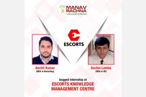 MBA students selected as Intern at Escorts Knowledge Management Centre
