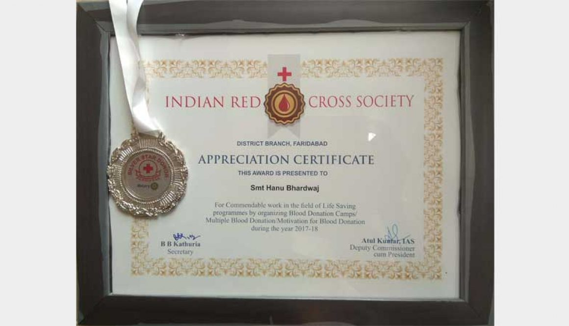 Prof. Hanu Bhardwaj received Appreciation Certificate from Indian ...