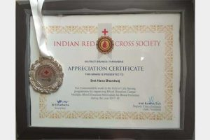 Prof. Hanu Bhardwaj received Appreciation Certificate from Indian Red Cross Society