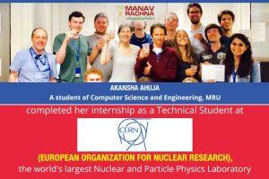 Engineering Student completed internship at CERN, Geneva