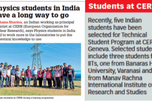 Print Coverage: Special Feature: 'Physics students in India have a long way to go' by TOI