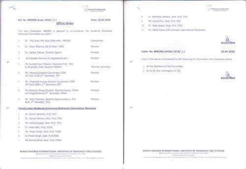 Various Committees at Institute Level - Manav Rachna