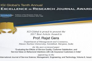 Best Global Research Paper Award 2017