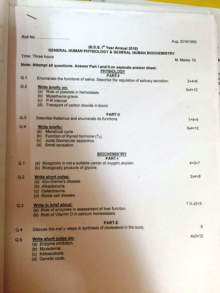 BDS Question Papers - MRDC