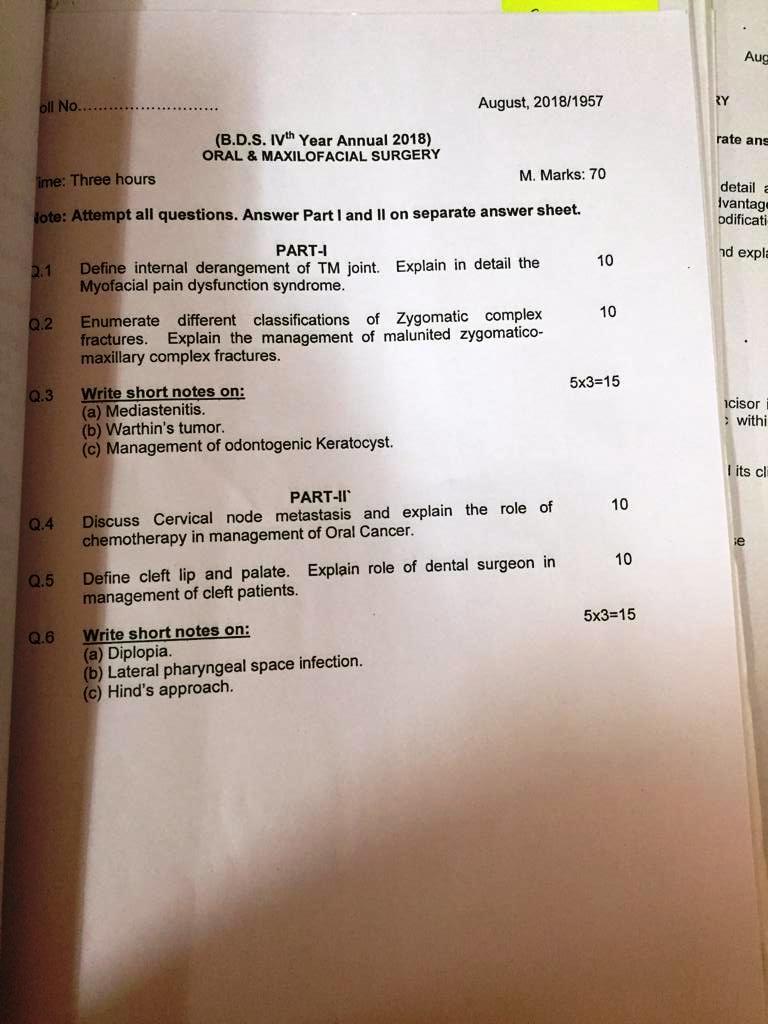 BDS Question Papers - Manav Rachna Vidyanatariksha