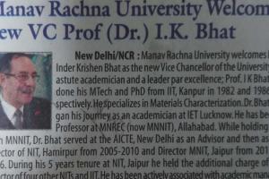 Print Coverage: Dr IK Bhatt Joined as new VC of Manav Rachna University