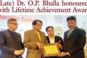 Print Coverage: Lifetime Achievement Award to Founder Visionary Dr. O P Bhalla