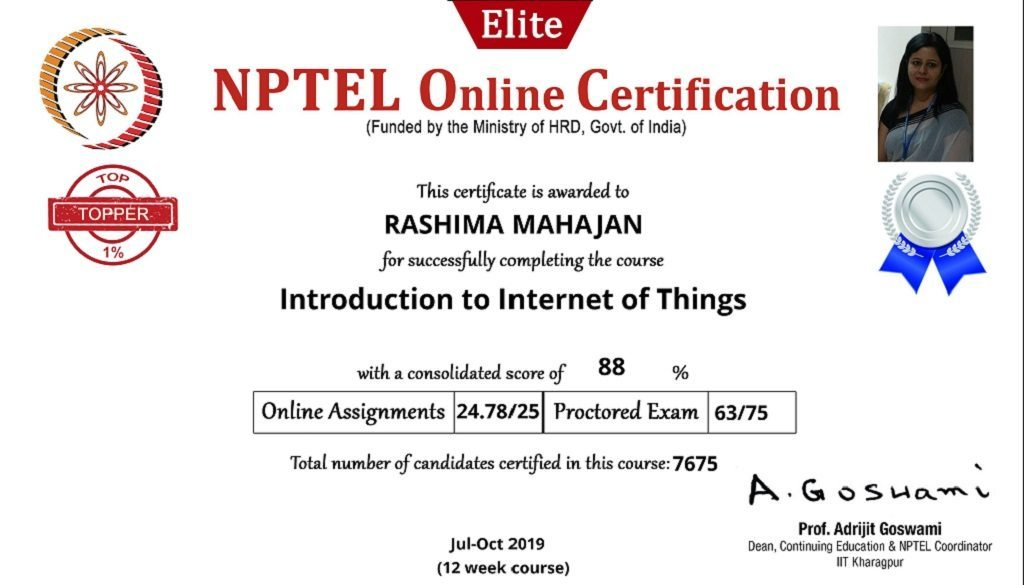 NPTEL certificate_Introduction to Internet of Things