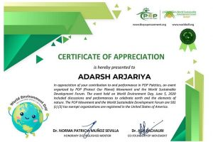 Recognition for contribution for World Environment Day