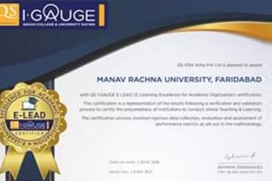 Manav Rachna University awarded as 'Certified E-Lead Institution' by QS I∙GAUGE