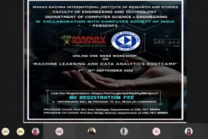 One Week Online Workshop on 'Machine Learning and Data Analytics Bootcamp' In Collaboration with Computer Society of India (CSI)