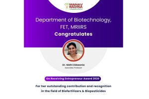 Entrepreneur Award-2020 for outstanding contribution in the field of Bio fertilizers & Bio pesticides