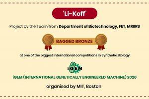 Manav Rachna team wins Bronze at INTERNATIONAL GENETICALLY ENGINEERED MACHINE 2020 organised by MIT, Boston