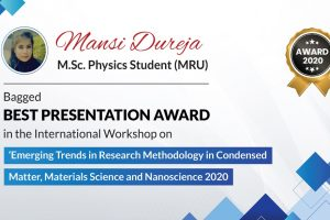 M.Sc. Physics Student won Best Presentation Award