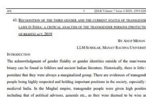 Article Published in International Journal of Socio-Legal Research