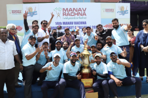 Manav Rachna lifts the Champions' Trophy of the 14th Manav Rachna Corporate Cricket Challenge Cup