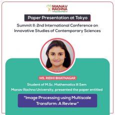 <center>Paper Presentation at Tokyo Summit II by Ms. Ridhi Bhatnagar