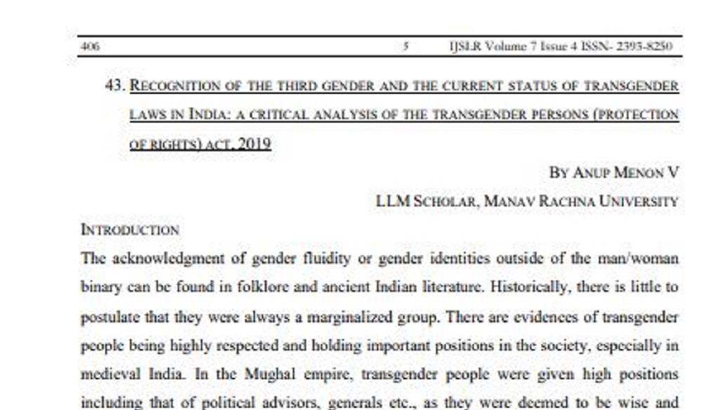 <center>Article Published in International Journal of Socio-Legal Research