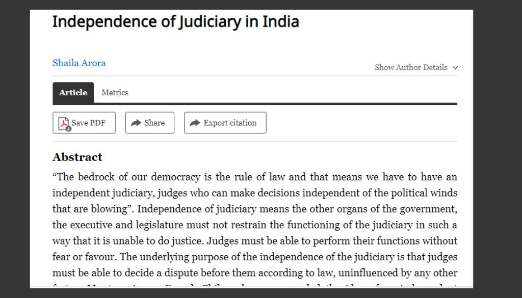"""<center> Research Paper on Independence of Judiciary in India""""  by Shaila Arora"""